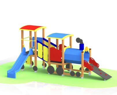 Echipament de joaca cu tobogan Trenulet 1.0 1